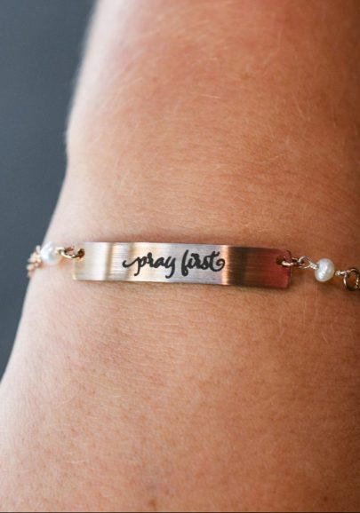 Pray First Bar Bracelet – Rose Gold